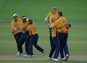 Hampshire players celebrate as they win the Cheltenham Gloucester Trophy Final between Hampshire and Warwickshire at Lord's Cricket Ground London 3rd...
