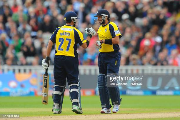 Hampshire Royal's Shahid Afridi celebrates his half century against Somerset