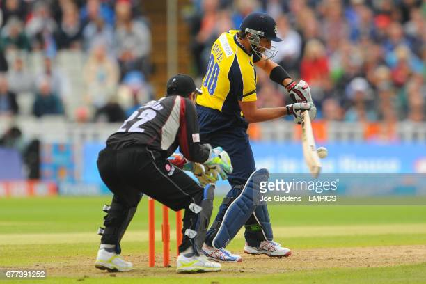 Hampshire Royal's Shahid Afridi in action against Somerset
