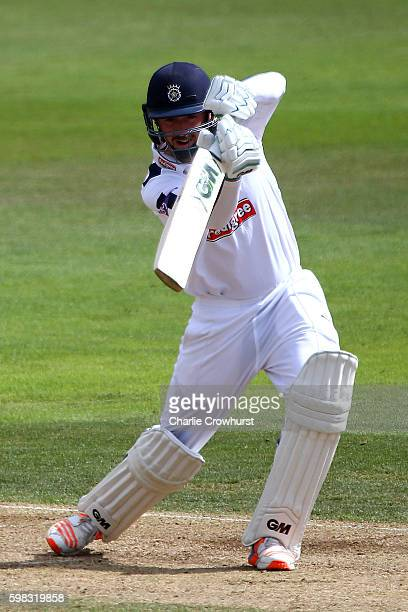 Hampshire's James Vince hits out during day two of the Specsavers County Championship Division One match between Hampshire and Yorkshire at Ageas...