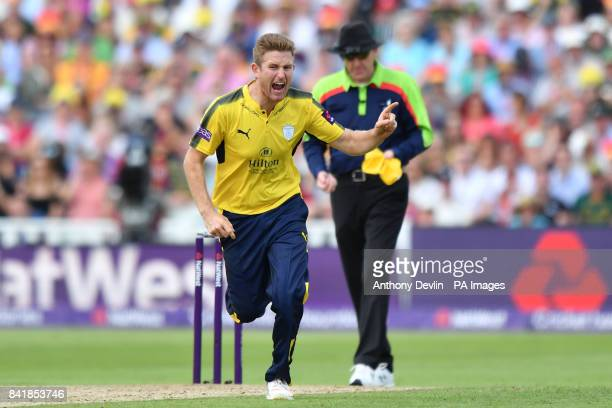 Hampshire's Liam Dawson celebrates as Nottinghamshire's Steven Mullaney is caught out on 0 during the NatWest T20 Blast Finals Day at Edgbaston...