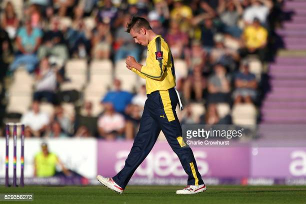 Hampshire's Mason Crane celebrates after taking the wicket of Jacques Rudolph of Glamorgan during the NatWest T20 Blast match between Hampshire and...