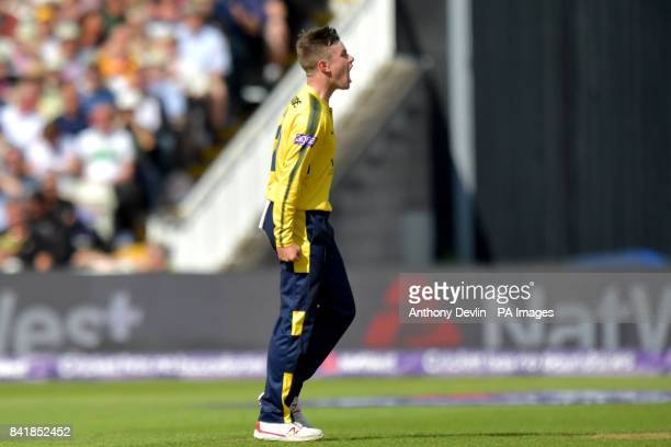 Hampshire's Mason Crane celebrates taking the wicket of Nottinghamshire's Riki Wessels during the NatWest T20 Blast Finals Day at Edgbaston Birmingham