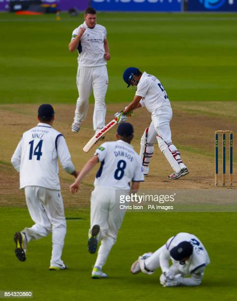 Hampshire's Matt Coles celebrates the wicket of Essex batsman Gautam Gambhir for three runs caught by wicket keeper Michael Bates during the LV=...