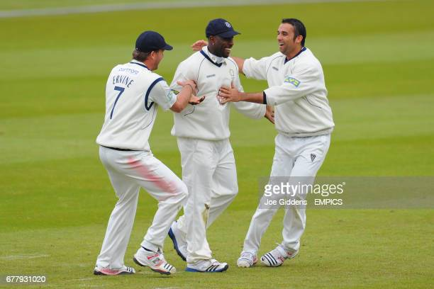 Hampshire's Michael Carberry celebrates running out Yorkshire's Andrew Gale