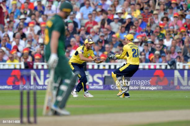 Hampshire's Shahid Afridi celebrates taking the catch of Nottinghamshire's Alex Hales during the NatWest T20 Blast Finals Day at Edgbaston Birmingham