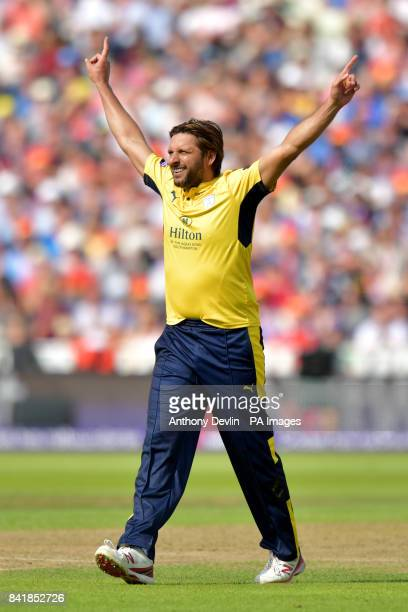 Hampshire's Shahid Afridi celebrates taking the wicket of Nottinghamshire's Brendan Taylor during the NatWest T20 Blast Finals Day at Edgbaston...