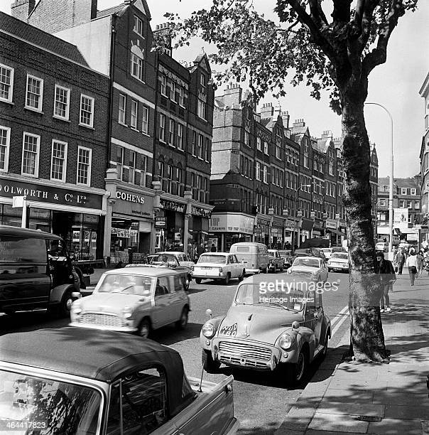 Hampstead High Street Hampstead London 19671975 Traffic in the high street with the entrance to Oriel Place visible in the centre of the photograph