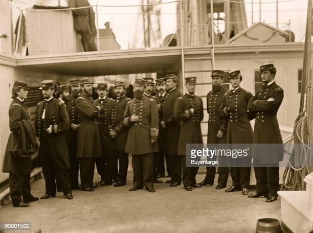 Hampton Roads Va Rear Admiral David D Porter and staff aboard his flagship USS Malvern