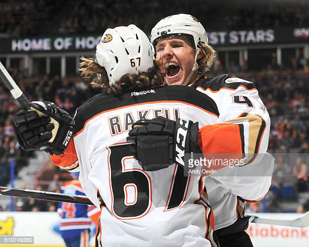 Hampus Lindholm and Rickard Rakell of the Anaheim Ducks celebrate after a goal during the game against the Edmonton Oilers on February 16 2016 at...