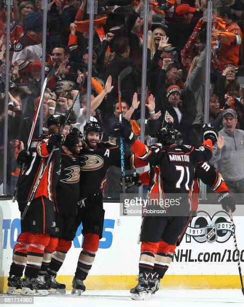 Hampus Lindholm Andrew Cogliano Ryan Kesler and Brandon Montour of the Anaheim Ducks celebrate Cogliano's goal in the second period of Game Seven of...