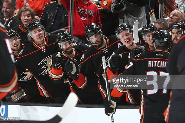 Hampus Lindholm Andrew Cogliano Ryan Kesler and Jakob Silfverberg of the Anaheim Ducks congratulate Nick Ritchie for his gamewinning goal in the...