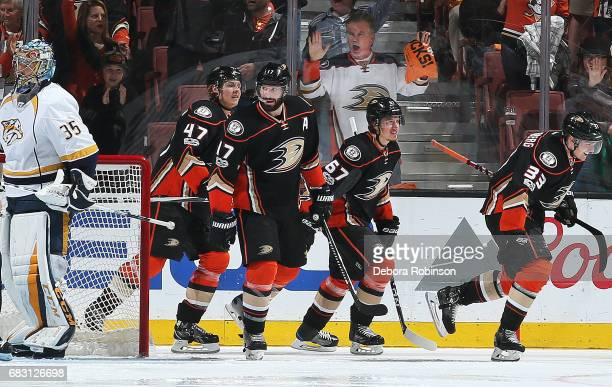 Hampus Lindholm Ryan Kesler Rickard Rakell and Jakob Silfverberg of the Anaheim Ducks celebrate a goal in the second period against Pekka Rinne of...