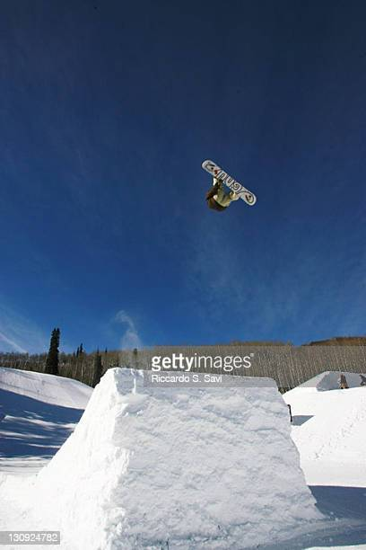 Hampus Mosesson in action during the Snowboard Slopestyle Men's Practice at Winter X Games 11 at Buttermilk Mountain in Aspen Colorado on January 27...