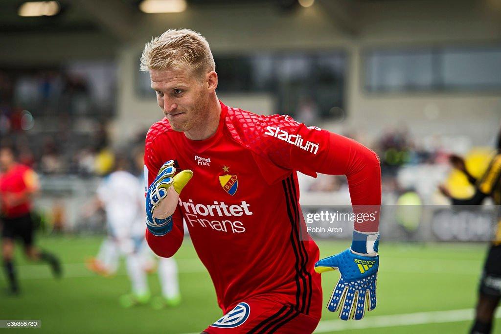 Hampus Nilsson, goalkeeper of Djurgardens IF during the Allsvenskan match between BK Hacken and Djurgardens IF at Bravida Arena on May 29, 2016 in Gothenburg, Sweden.