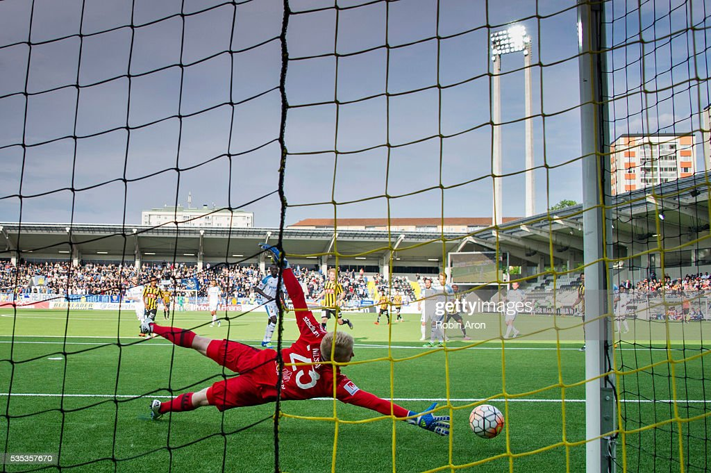 Hampus Nilsson, goalkeeper of Djurgardens IF throws himself but fail to stop the ball that John Owoeri of BK Hacken scores 3-1 with during the Allsvenskan match between BK Hacken and Djurgardens IF at Bravida Arena on May 29, 2016 in Gothenburg, Sweden.