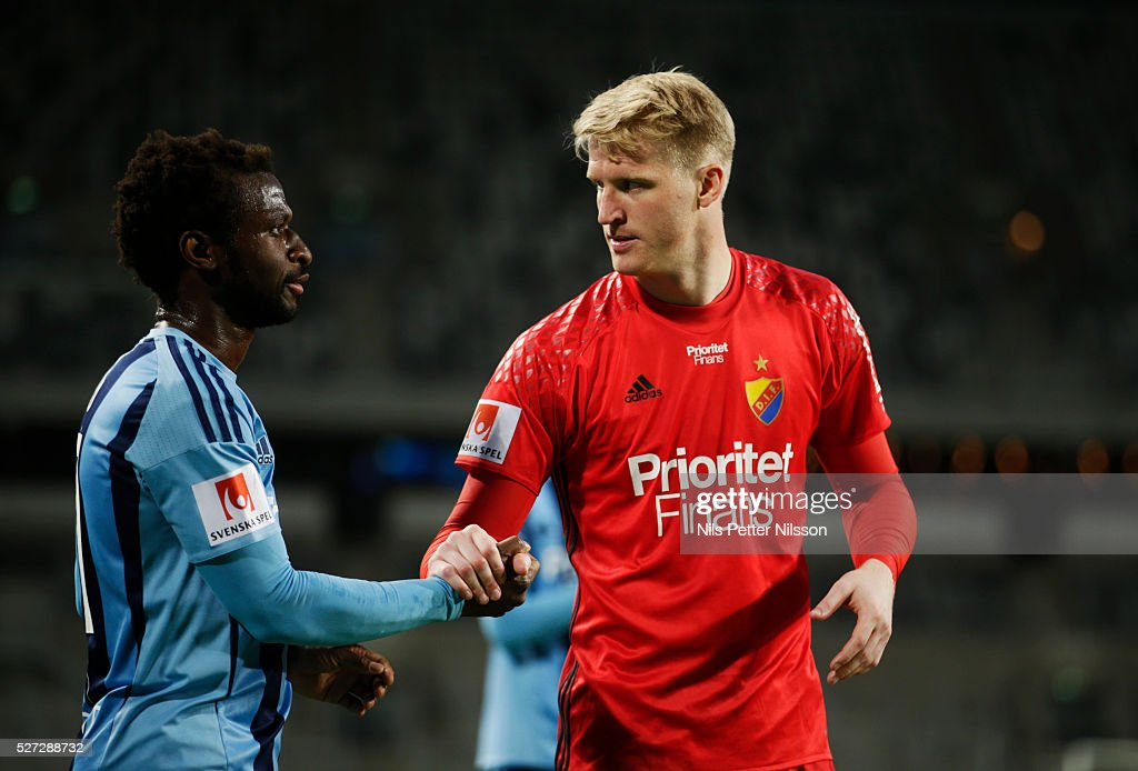 Hampus Nilsson of Djurgardens IF and Amadou Jawo of Djurgardens IF after the Allsvenskan match between Djurgardens IF and Ostersunds FK at Tele2 Arena on May 2, 2016 in Stockholm, Sweden.