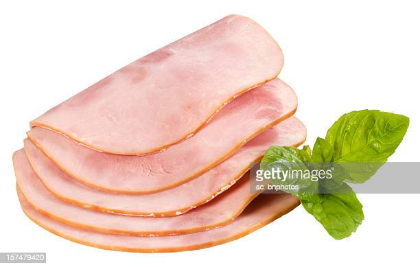 Ham's slices and fresh basil