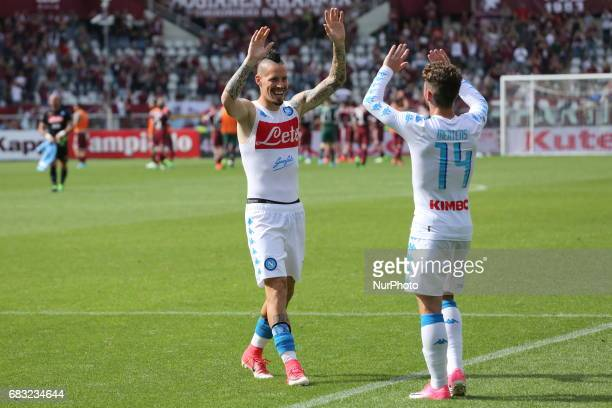 Hamsik and Mertens celebrate the win after the Serie A football match between Torino FC and SSC Napoli at Olympic stadium Grande Torino on may 14...