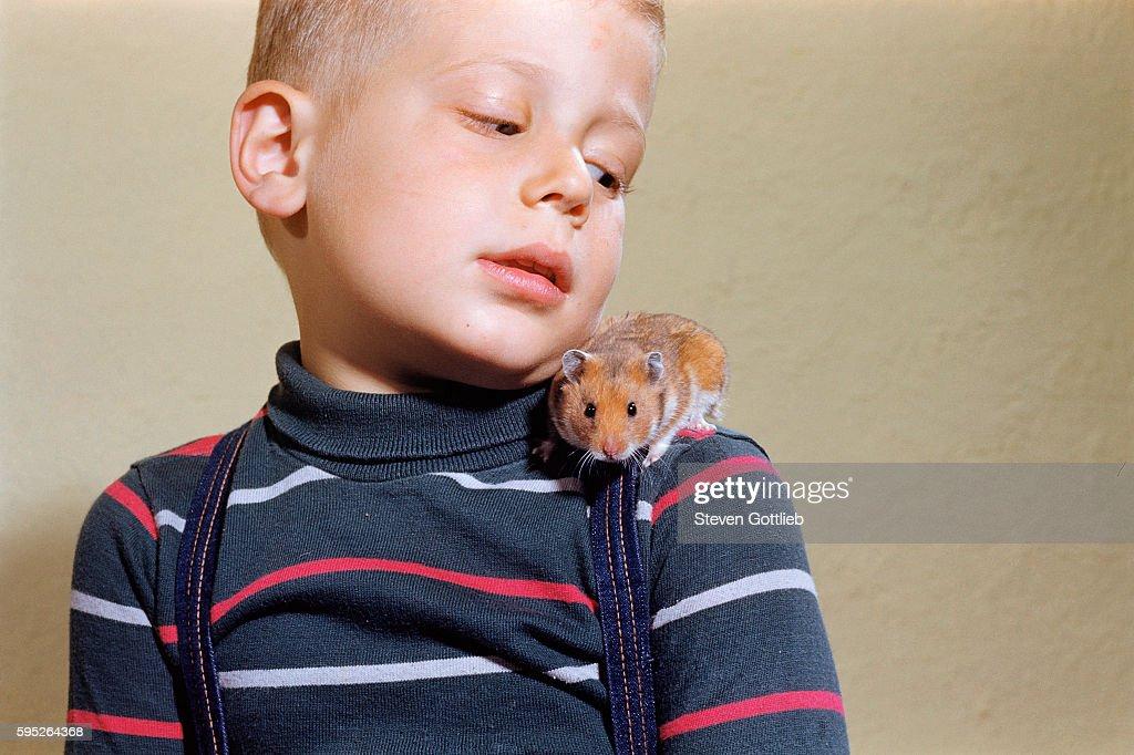 Hamster on Boy's Shoulder