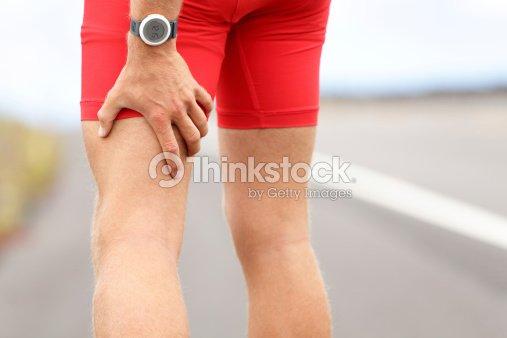 Hamstring sprain or cramps : Stock Photo