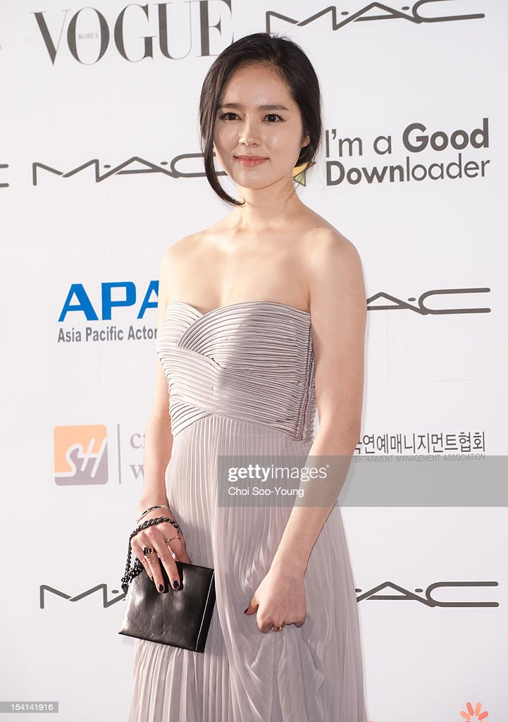 Han GaIn arrives for APAN Star Road during the 17th Busan International Film Festival at the Haeundae beach on October 5 2012 in Busan South Korea