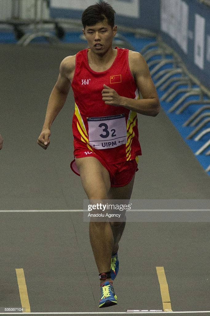 Han Jiahao from China competes in the combined event at the mixed relay World Championship in modern pentathlon in Moscow in Olympic Sports Complex in Moscow, Russia, on May 29, 2016.