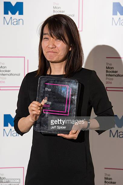 Han Kang author of the winning book The Vegetarian poses for photographers at the Photocall for the Man Booker International Prize at The VA on May...