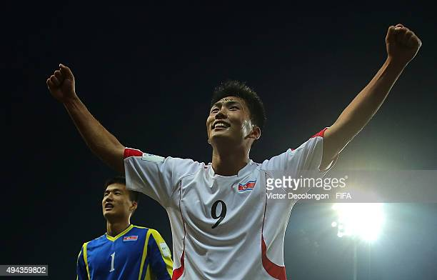 Han Kwang Song of Korea DPR celebrates after the Costa Rica v Korea DPR Group E FIFA U17 World Cup Chile 2015 match at Estadio Chinquihue on October...