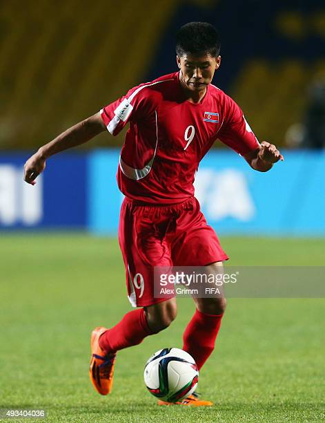 Han Kwang Song of Korea DPR controles the ball during the FIFA U17 World Cup Chile 2015 Group E match between Korea DPR and Russia at Estadio...