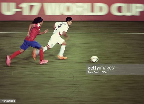 Han Kwang Song of Korea DPR in action during the FIFA U17 World Cup Chile 2015 Group E match between Costa Rica and Korea DPR at Estadio Chinquihue...