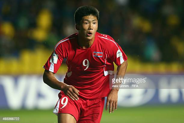 Han Kwang Song of Korea DPR reacts during the FIFA U17 World Cup Chile 2015 Group E match between Korea DPR and Russia at Estadio Municipal de...