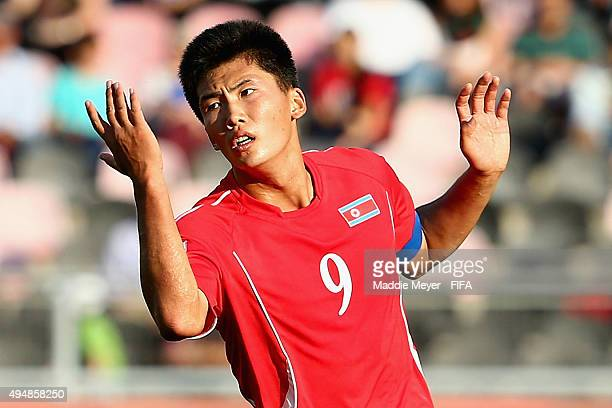 Han Kwang Song of Korea DPR reacts to a call against his team during the FIFA U17 World Cup Chile 2015 Round of 16 match between Mali and Korea DPR...