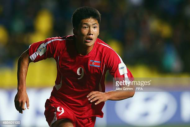 Han Kwang Song of Korea DPR runs during the FIFA U17 World Cup Chile 2015 Group E match between Korea DPR and Russia at Estadio Municipal de...