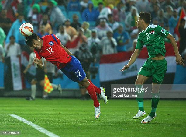 Han Kyo Won of Korea Republic attempts a shot on goal during the Asian Cup Semi Final match between Korea Republic and Iraq at ANZ Stadium on January...