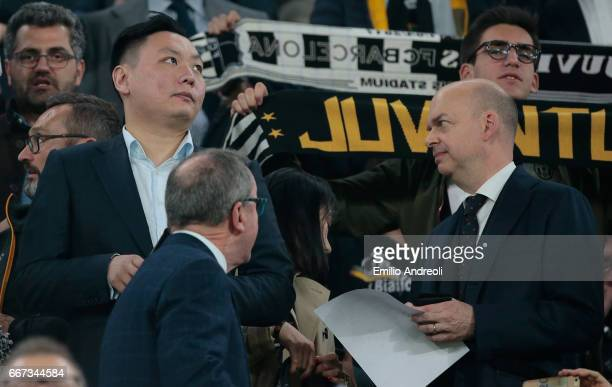 Han Li and Marco Fassone attend the UEFA Champions League Quarter Final first leg match between Juventus and FC Barcelona at Juventus Stadium on...
