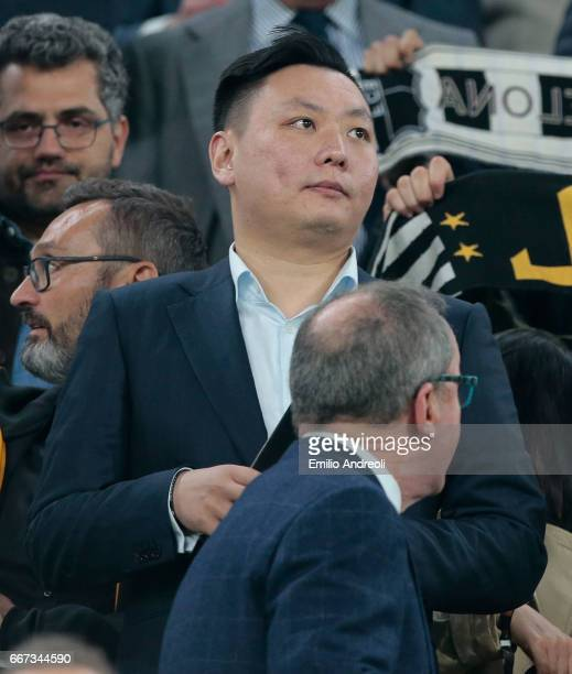 Han Li attends the UEFA Champions League Quarter Final first leg match between Juventus and FC Barcelona at Juventus Stadium on April 11 2017 in...