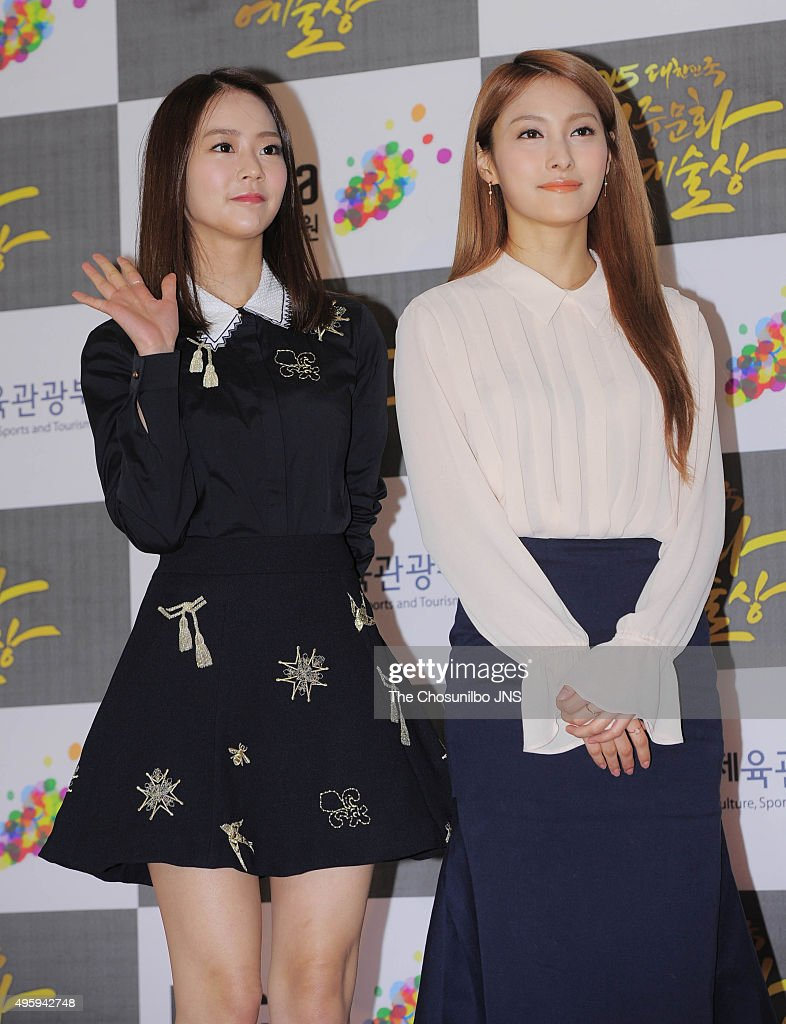 Han Seung-yeon and <a gi-track='captionPersonalityLinkClicked' href=/galleries/search?phrase=Park+Gyuri&family=editorial&specificpeople=7420401 ng-click='$event.stopPropagation()'>Park Gyuri</a> of <a gi-track='captionPersonalityLinkClicked' href=/galleries/search?phrase=Kara&family=editorial&specificpeople=844908 ng-click='$event.stopPropagation()'>Kara</a> attend the 2015 Korean Popular Culture and Arts Awards at National Theater of Korea on October 29, 2015 in Seoul, South Korea.
