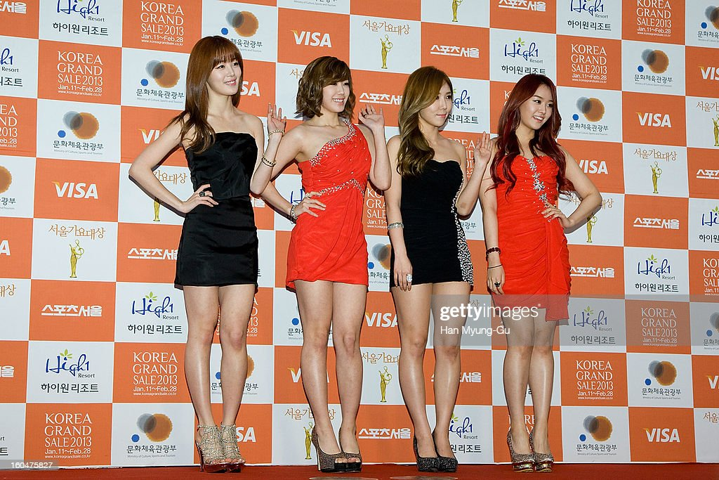 Han Sun-Hwa, Jun Hyo-Seong, Zinger and Song Ji-Eun of South Korean girl group Secret attend the 22nd High1 Seoul Music Awards at SK Handball Arena on January 31, 2013 in Seoul, South Korea.