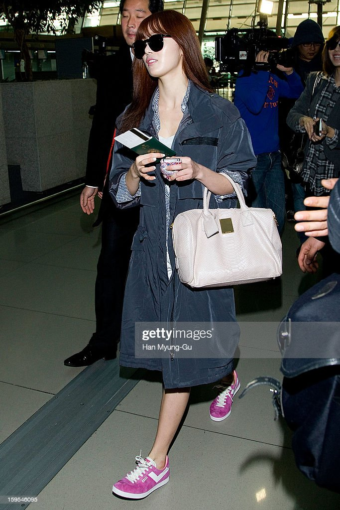 Han Sun-Hwa of South Korean girl group Secret is seen at Incheon International Airport on January 15, 2013 in Incheon, South Korea.