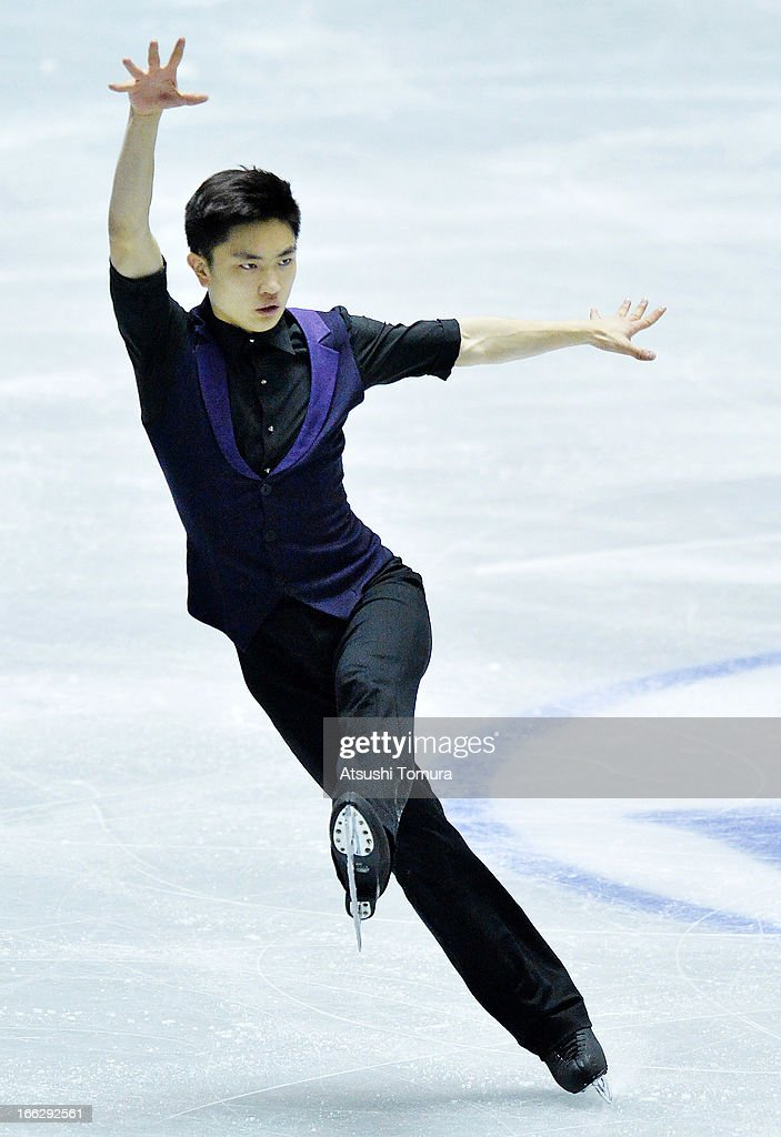 Han Yan of China competes in the men's short program during day one of the ISU World Team Trophy at Yoyogi National Gymnasium on April 11, 2013 in Tokyo, Japan.