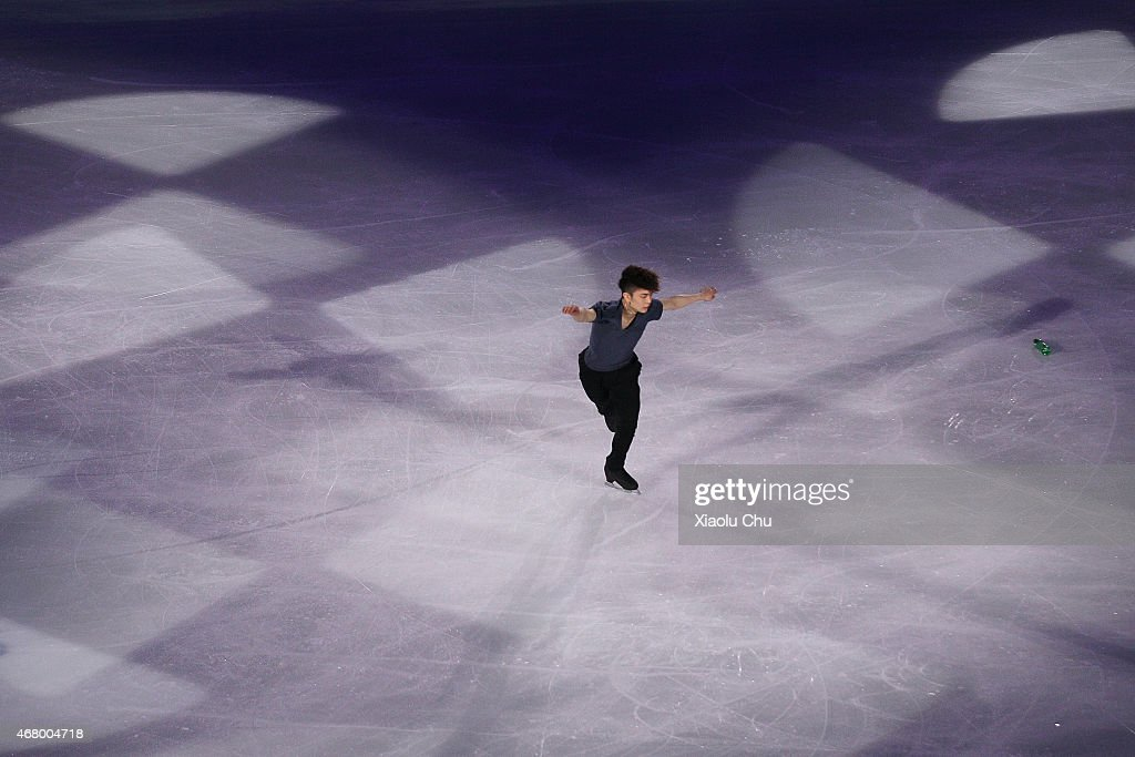 Han Yan of China performs during the Exhibition Program on day five of the 2015 ISU World Figure Skating Championships at Shanghai Oriental Sports Center on March 28, 2015 in Shanghai, China.