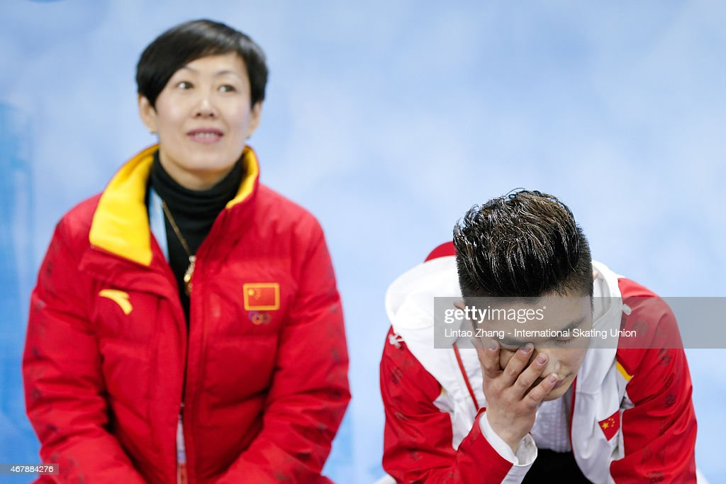 Han Yan of China reacts after competing in the Ice Dance-Man Free Skating Program on day four of the 2015 ISU World Figure Skating Championships at Shanghai Oriental Sports Center on March 28, 2015 in Shanghai, China.