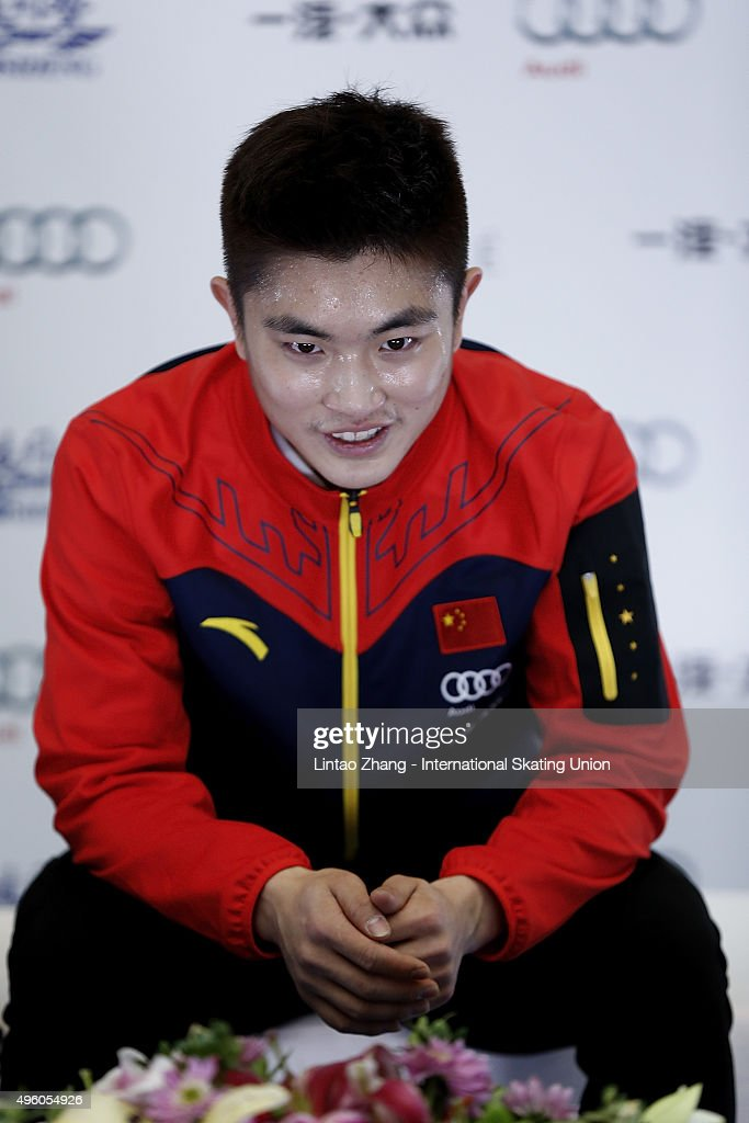 Han Yan of China reacts after the perform Men Short Program on day one of Audi Cup of China ISU Grand Prix of Figure Skating 2015 at Beijing Capital Gymnasium on November 6, 2015 in Beijing, China.