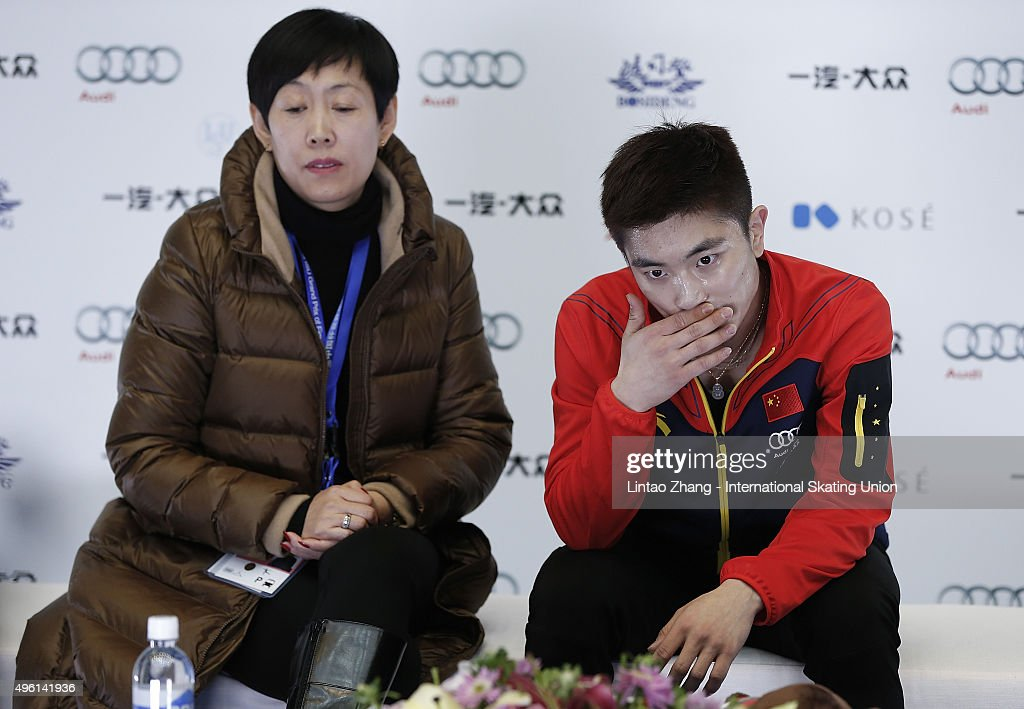 Han Yan of China reacts after the perform the Men Short Program on day two of Audi Cup of China ISU Grand Prix of Figure Skating 2015 at Beijing Capital Gymnasium on November 7, 2015 in Beijing, China.