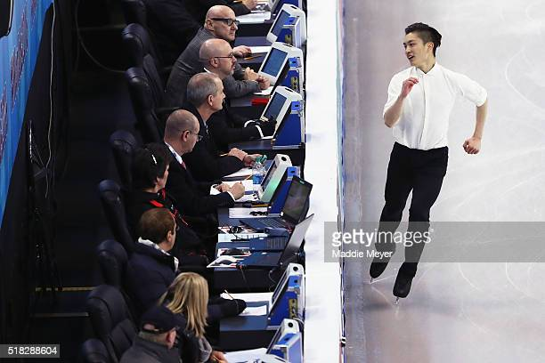 Han Yan of China skates in the Men's Short program during day 3 of the ISU World Figure Skating Championships 2016 at TD Garden on March 30 2016 in...
