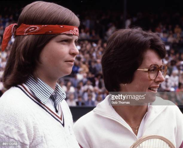 Hana Mandlikova of Czechoslovakia and Billie Jean King of the USA during the Wimbledon Lawn Tennis Championships held at the All England Club in...