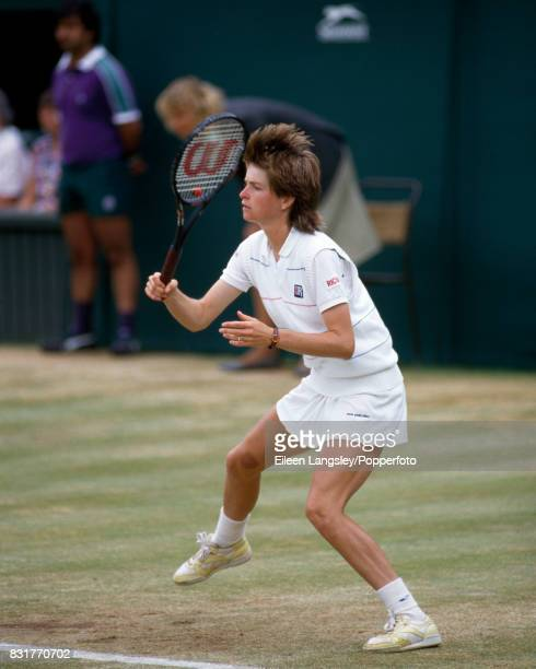 Hana Mandlikova of Czechoslovkia in action during a women's singles match at the Wimbledon Lawn Tennis Championships in London circa July 1986...