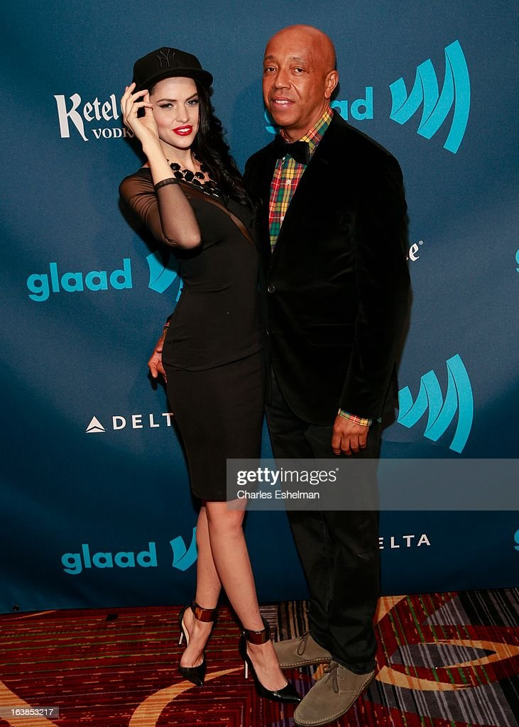 Hana Nitsche and Russell Simmons attend the 24th annual GLAAD Media awards at The New York Marriott Marquis on March 16, 2013 in New York City.