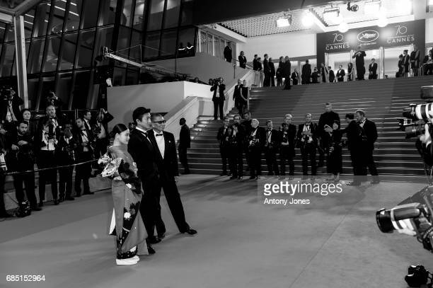 Hana Sugisaki Takuya Kimura and director Takashi Miike attend the 'Blade Of The Immortal ' premiere during the 70th annual Cannes Film Festival at on...
